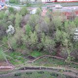 Вид на Пушкарскую 51. Прочищено русло, убран мусор, построены дорожки, построена вторая лестница, разбиты цветники