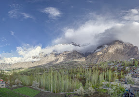 Day-1: A cloudy morning in Hunza valley, view from Hilltop hotel, Karimabad