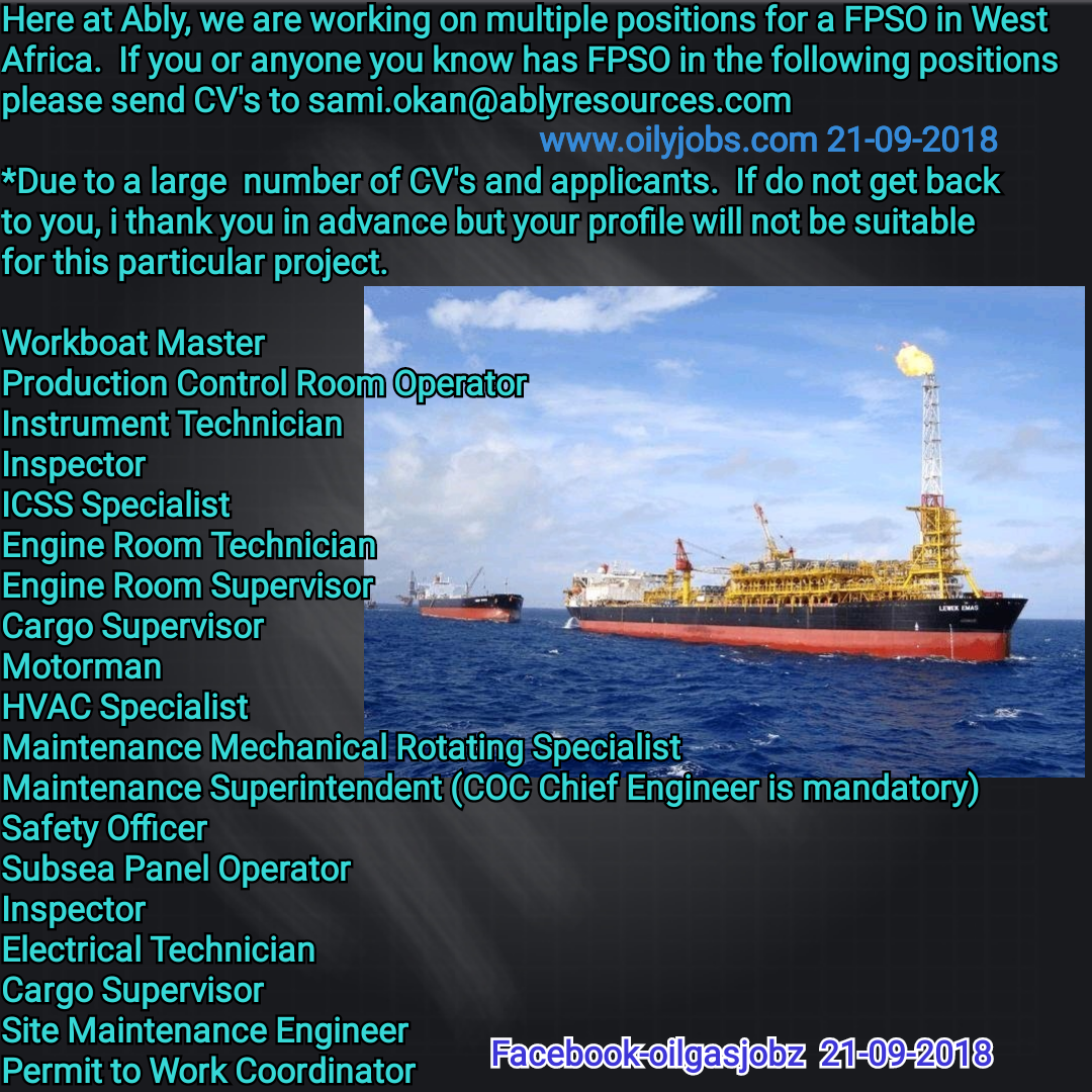 Oil and Gas Jobs: Onshore/Offshore Positions in Angola