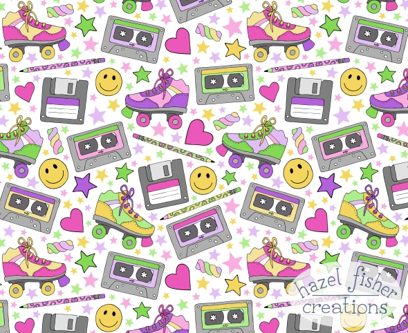 90s nostalgia fabric design Spoonflower contest hazelfishercreations