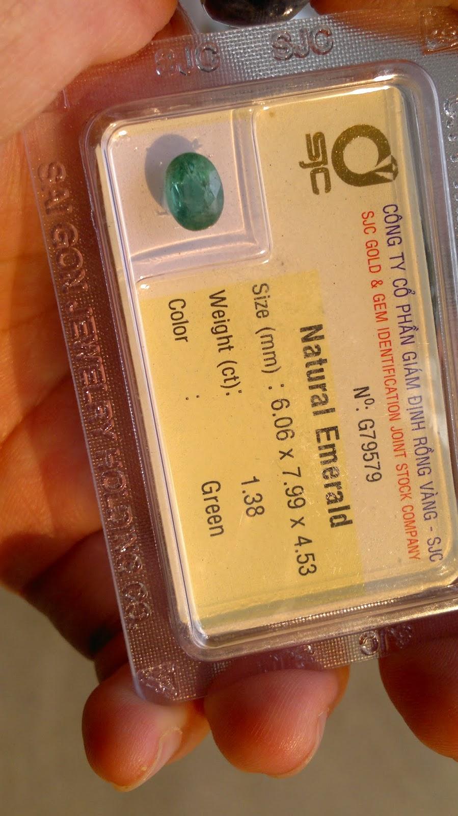 Đá quý Ngọc Lục Bảo, Natural Emerald 1.38cts hình oval đã kiểm định SJC