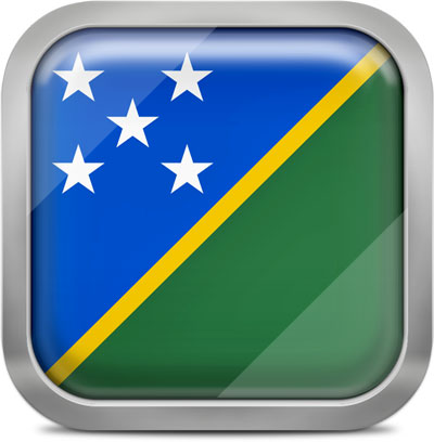 Solomon Islands square flag with metallic frame
