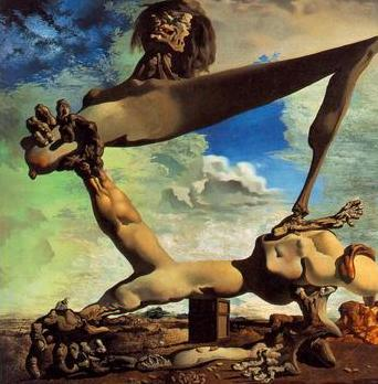 Soft construction with boiled beans (premonition of civil war), painting by Salvador Dali