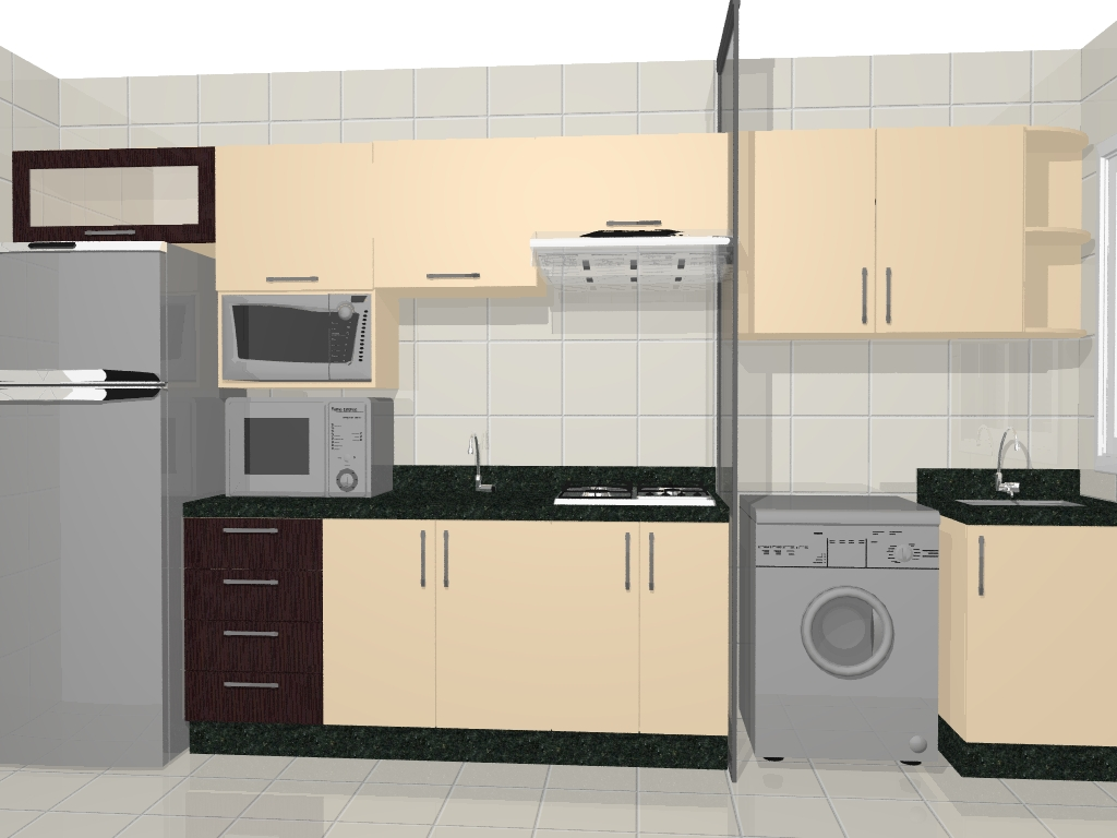 Móveis: Cozinha Compacta Projeto Apartamento #846C47 1024 768