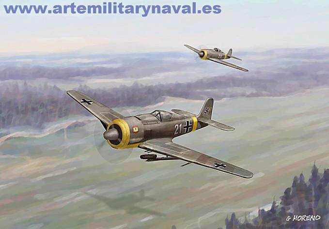 Pintura de un fw-190 de la Cuarta Escuadrilla Azul durante la Segunda Guerra Mundial
