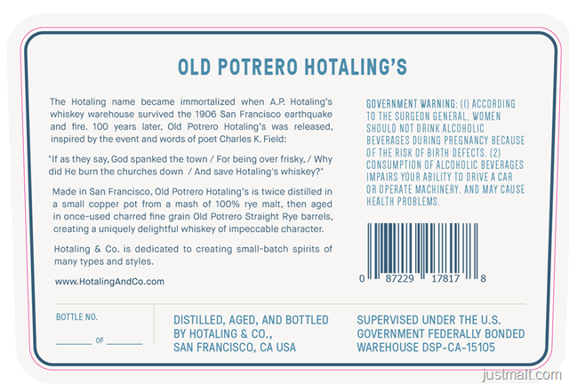 Anchor Distilling Old Potrero Hoatling's Single Malt Whiskey