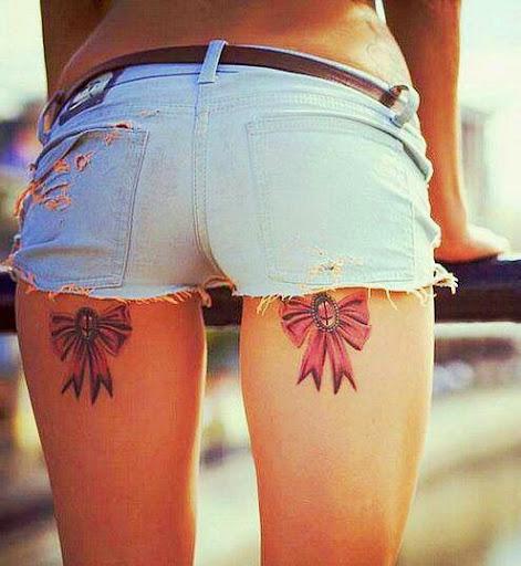 Bow Tattoos On Leg