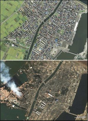 This combination photo made up of two satellite images shows Yuriage in  Natori, Japan, in 2008, top, and after the 8.9-magnitude earthquake and  subsequent ...