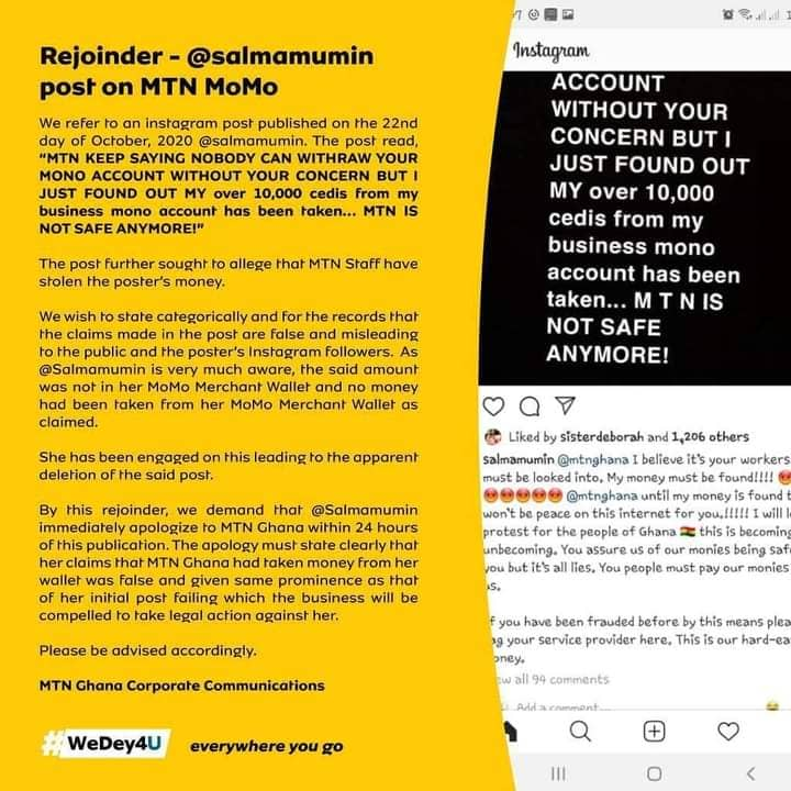 mtn,mtn ghana, momo fraud, gh10k momo fraud, mtn threatens salma mumin, salma mumin and mtn, salma mumin and mtn ghana, mtn ghana and salma mumin, mtn mobile money fraud,mtn mobile money fraud allegation,