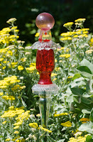 Red Glass Garden Art