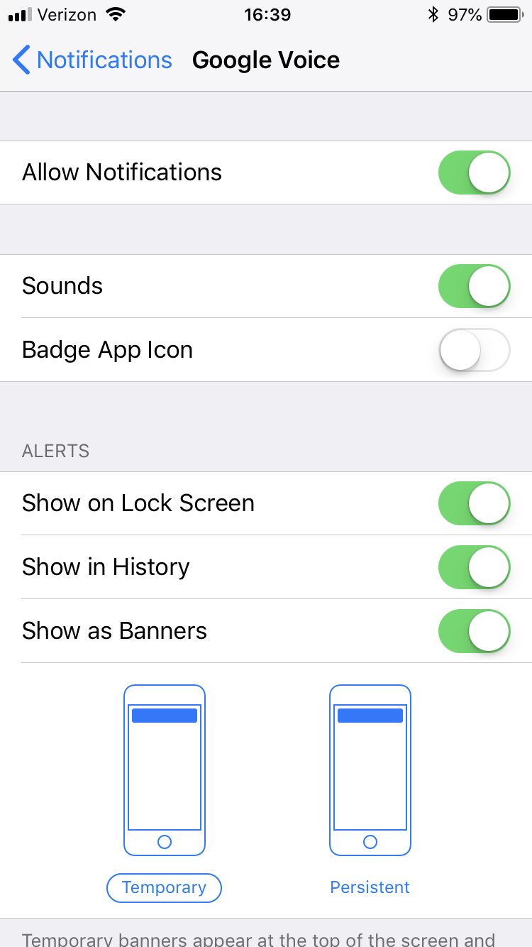 iPhone Google Voice Message tone customization - Google