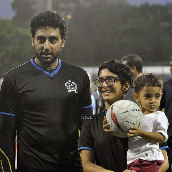 Abhishek Bachchan poses with Kiran Rao and Azaad Khan during a charity soccer match organised by Aamir's daughter Ira Khan, at Cooperage ground, on July 20, 2014.(Pic: Viral Bhayani)