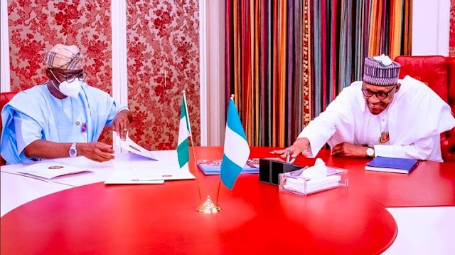 Governor Sanwo-Olu meets Buhari in Aso Rock (Photos)