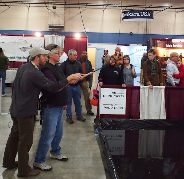 Tenkara casting demonstration at Pleasanton Fly Fishing Show