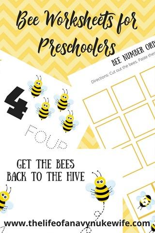 Bee Worksheets for Preschoolers