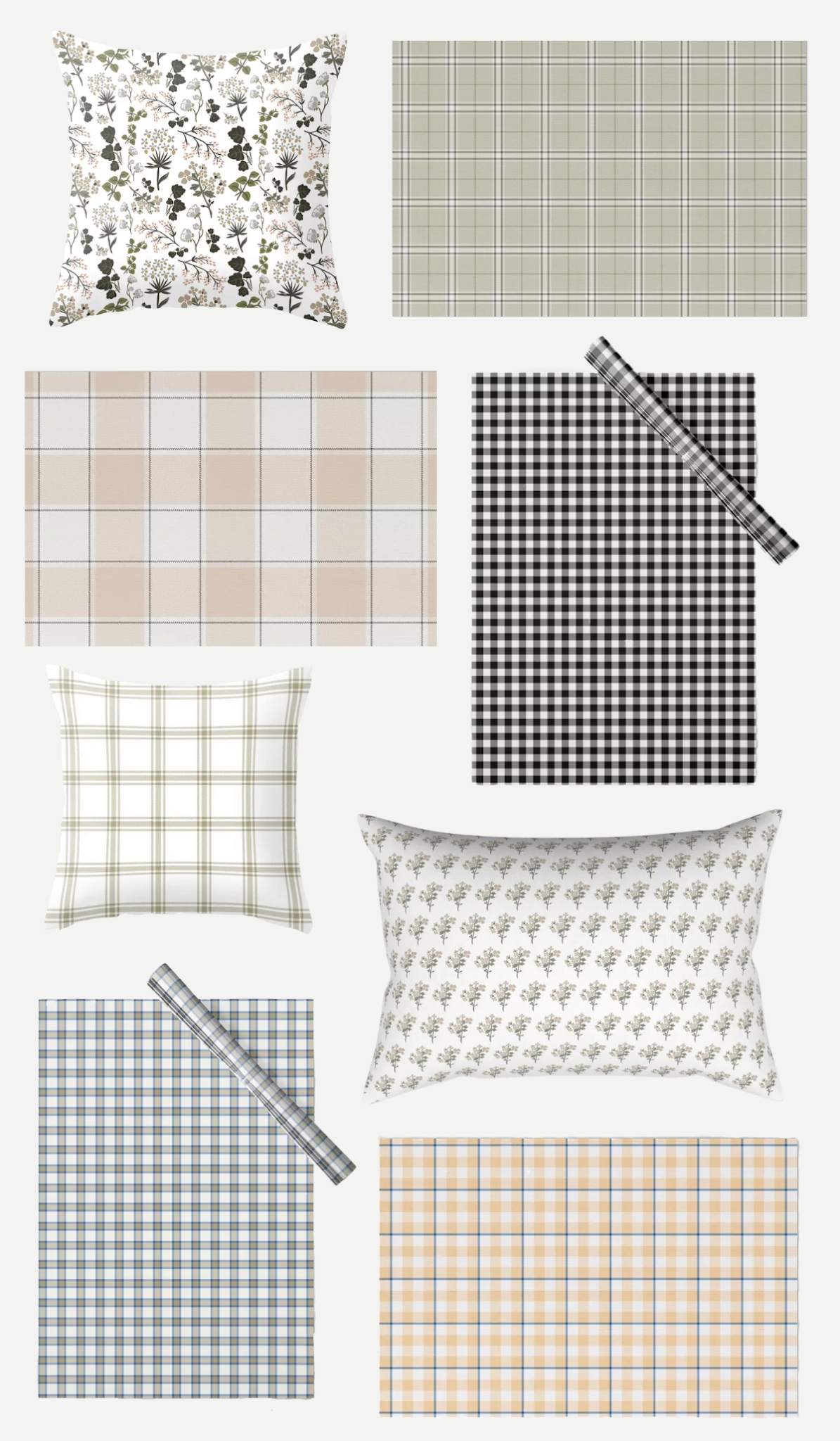 spring collection home decor, spring floral gingham plaid decor