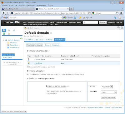 Configuración inicial del gestor documental Open Source Nuxeo DM