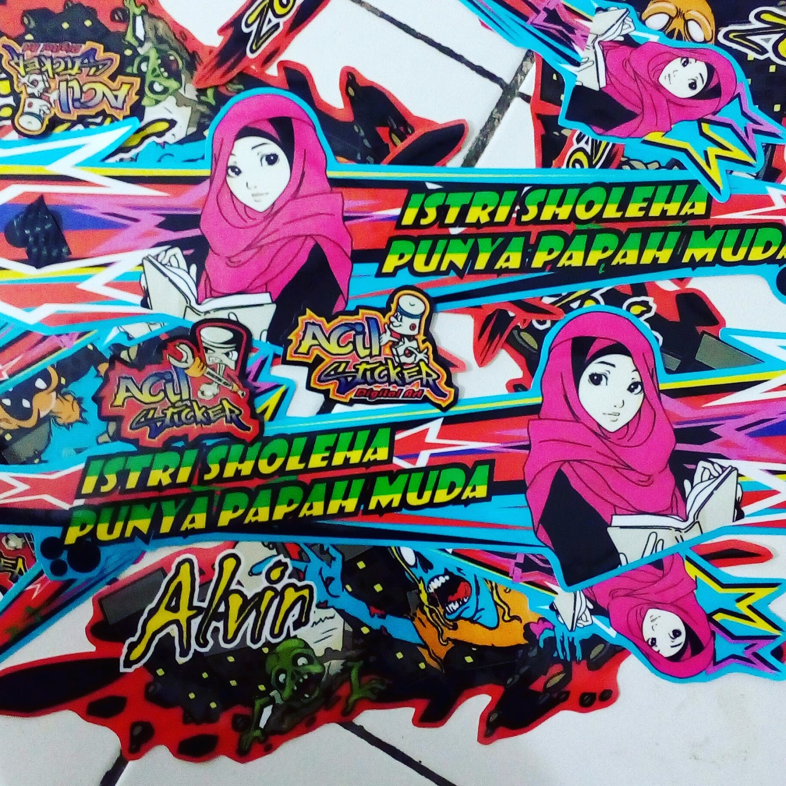Desain drag racing custom stickers