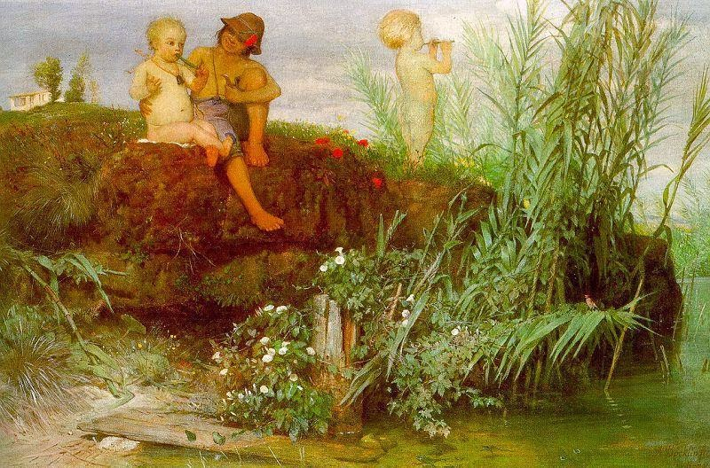 Arnold Böcklin - Children Carving Many Flutes