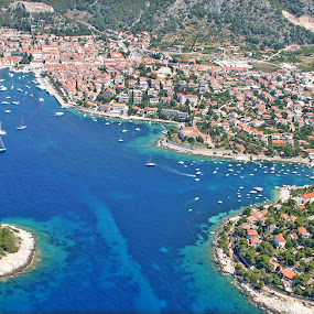 Hvar Aerial by Jaksa Kuzmicic - City,  Street & Park  Vistas ( port, sea, hvar )