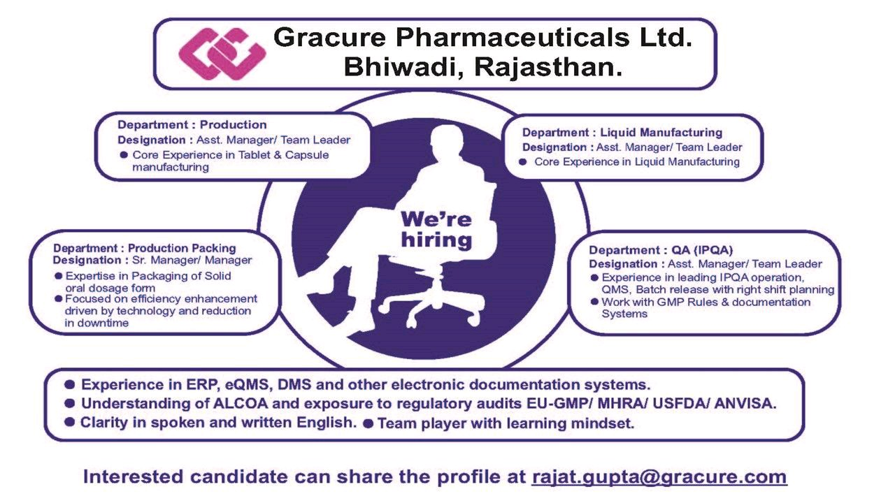 Opening For Production, QA, Packing At Gracure Pharmaceutical