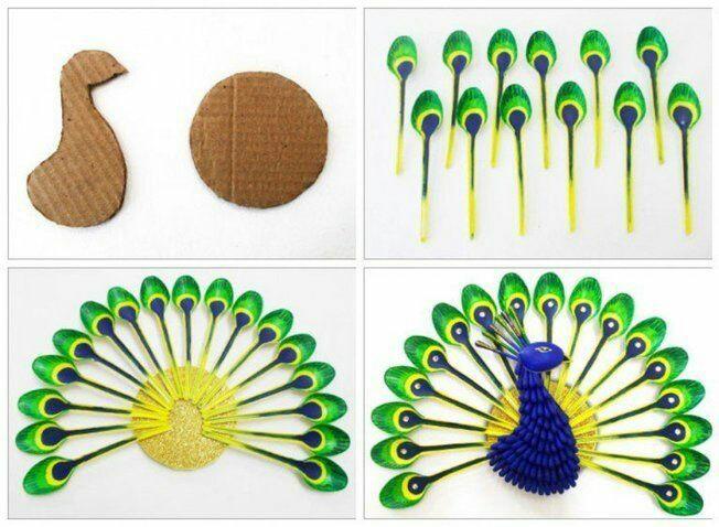 Como hacer un pavoreal decorativo con cucharas
