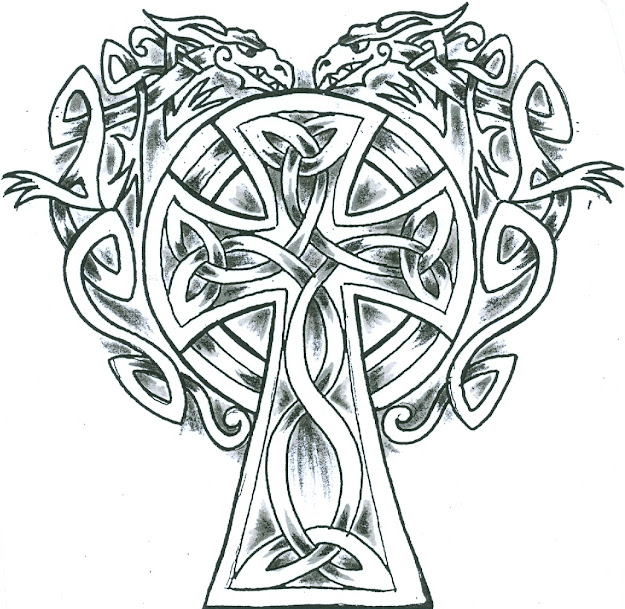 Irish Crosses   Knotwork Celtic Cross With Two Celtic Dragons  Protecting It