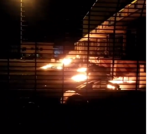 Lekki - Ikoyi toll gate currently on fire (videos)