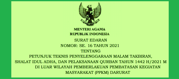 Surat Edaran Menteri Agama SE Menag Nomor  16 Tahun 2021