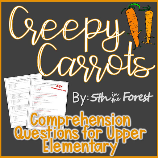 Thumbnail to download free Creepy Carrots comprehension questions for Halloween from Teachers Pay Teachers