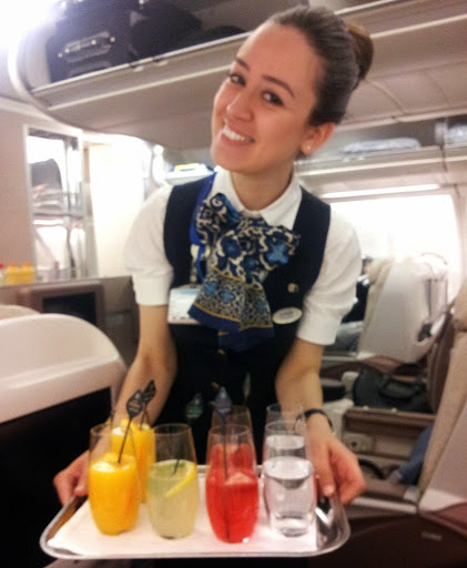 Fresh beverages offered upon boarding. From What's It Really Like to Fly Turkish Airlines Business Class?