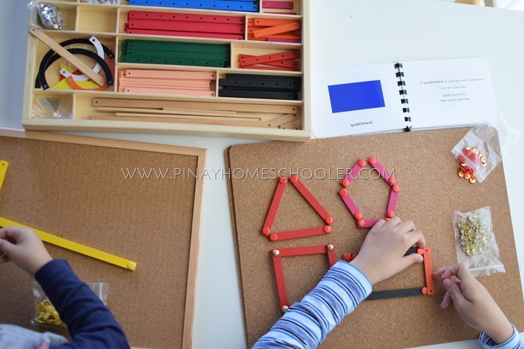 Using Montessori Geometric Sticks to form different polygons