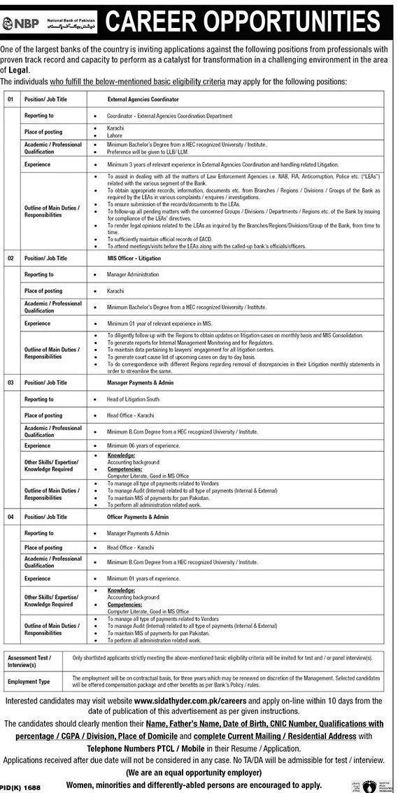 National Bank of Pakistan Jobs 2020 Online Apply