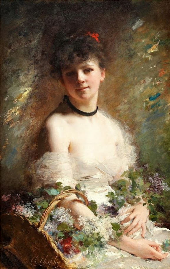 Charles Joshua Chaplin - Young Woman with Flower Basket