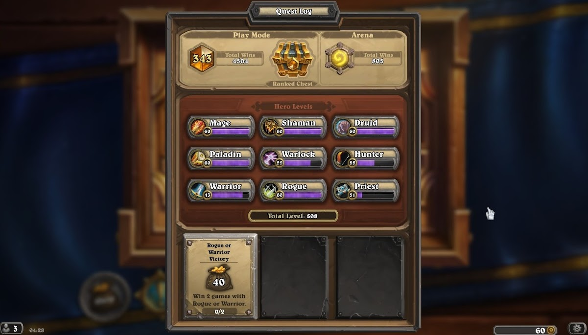 Hearthstone Total Wins and Hero Levels
