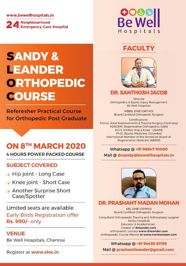 SLOC Orthopaedic Post Graduate course March 8 , 2020