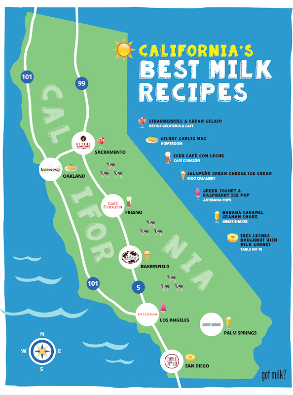 graphic of california's best milk recipes map