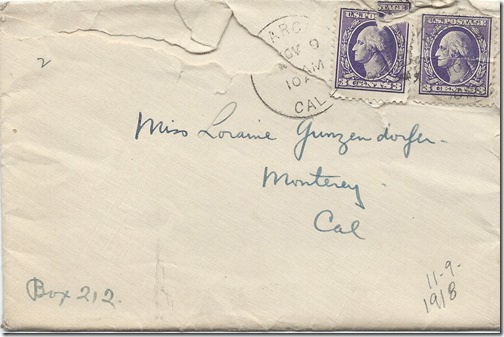 Nov 9 1918 Envelope Front
