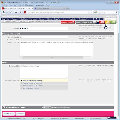 Añadir sensor servidor base de datos PostgreSQL en consola web PRTG