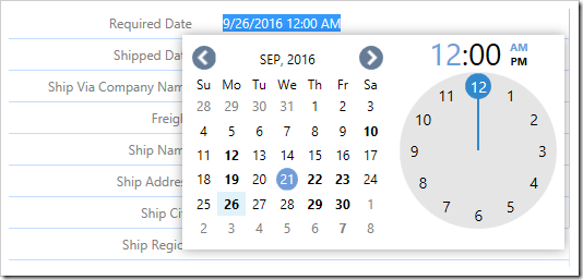 Editing a value in the form, the original date will be displayed.