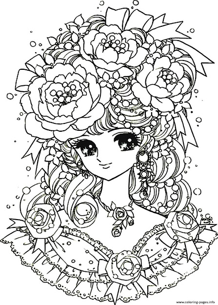 Print Adult Back To Childhood Manga Girl Flowers Coloring Pages