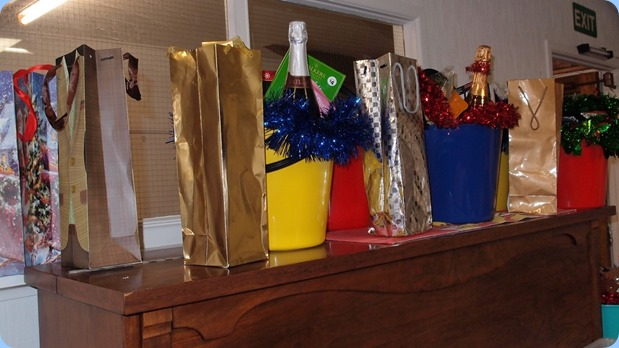 Some of the Christmas Hampers etc for the Raffle Draw. Photo courtesy of Dennis Lyons.