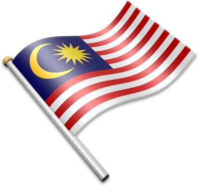 The Malaysian flag on a flagpole clipart image