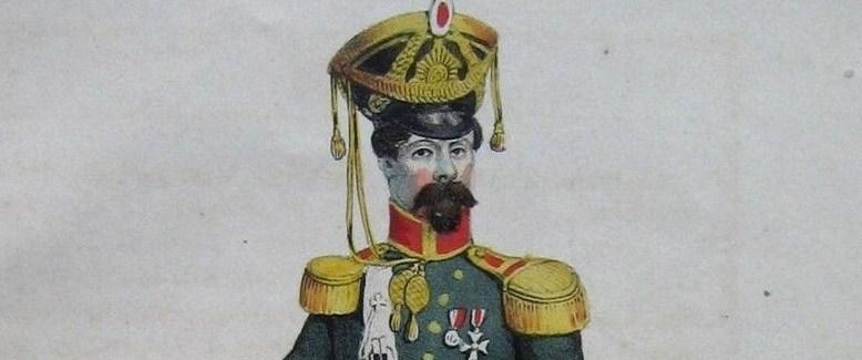 Tambourmajor Georg Küper (Senior) pictured (pace Rabe) by Jessen in <a href='https://de.wikipedia.org/wiki/Friedrich_Georg_Buek'>Buek</a>'s 1847 <em>Hamburgische Kostüme</em>. Buy him now from Strahlendorf! Or just <a href='https://lh3.googleusercontent.com/-UmFqZgPu1Mo/VhZVlEpYUrI/AAAAAAABhA0/p8lb9zUru3s/s1200-Ic42/kuper.JPG'>embiggen</a>!