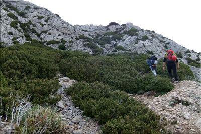 Llegando a la zona rocosa de Recilla