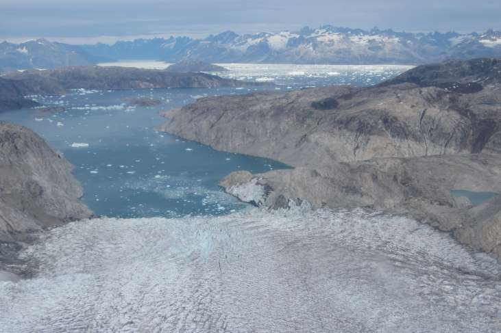 Aerial view of Helheim glacier, one of Greenland's biggest, and Sermilik fjord.  Photo: Ellyn Enderlin / University of Maine