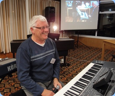 Rod Moffat preparing to play his Korg Pa3X keyboard (76 note version). Photo courtesy of Dennis Lyons.
