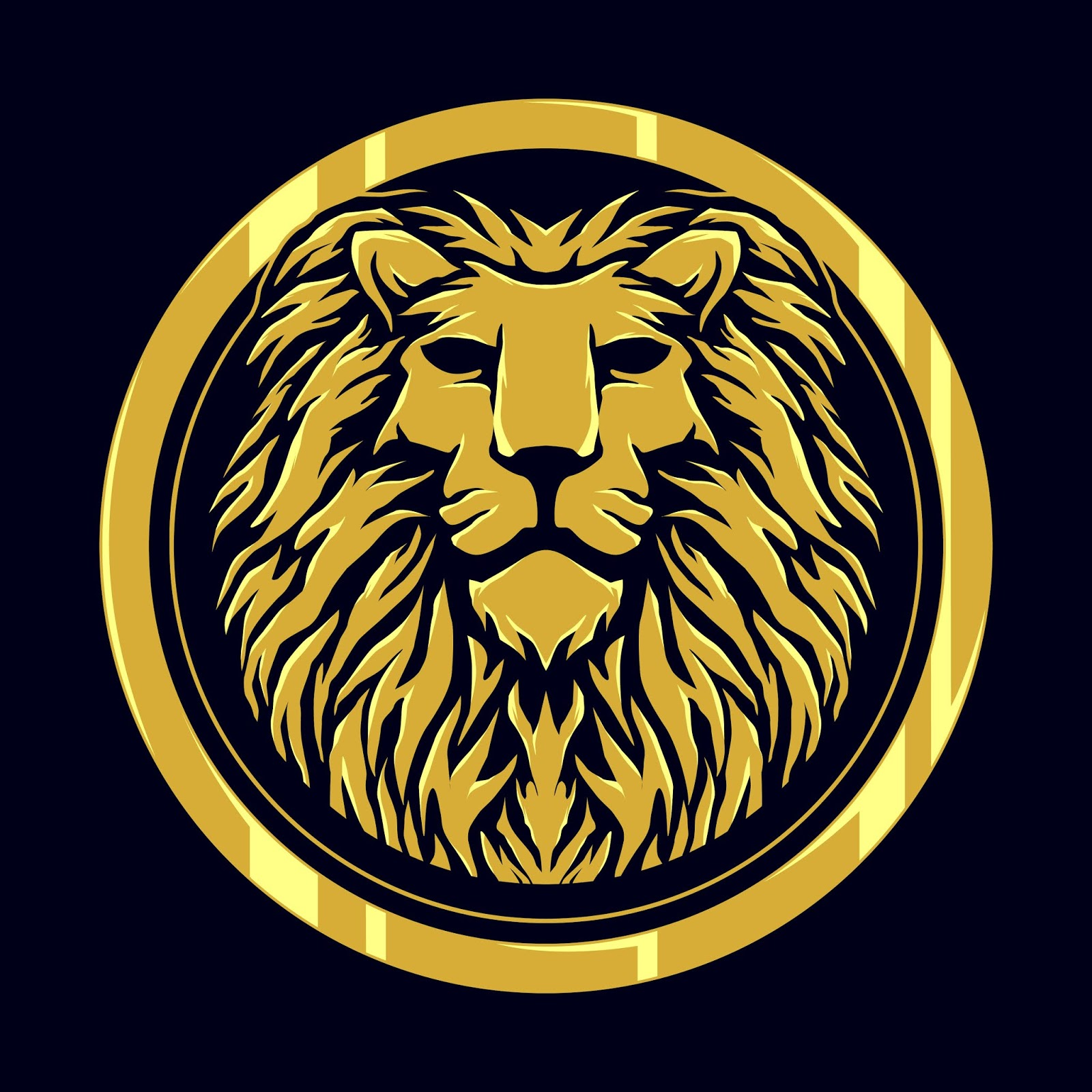 Head Lion Gold Logo Free Download Vector CDR, AI, EPS and PNG Formats