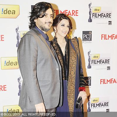 Sonali Bendre with husband Goldie Behl during the 58th Idea Filmfare Awards 2013, held at Yash Raj Films Studios in Mumbai.Click here for:<br />  58th Idea Filmfare Awards