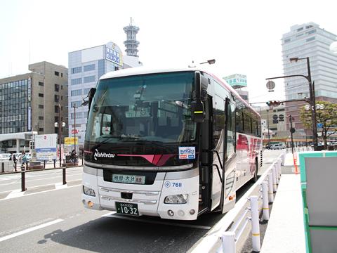 西鉄バス北九州「北九州~大分線」 7611 大分フォーラス前到着